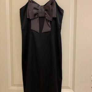 Night Way black silky formal big bow dress 4